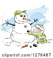 Clipart Of A White Boy Making A Winter Snowman With A Carrot Nose Coal Buttons And Baseball Hat Over Blue Streaks Royalty Free Vector Illustration