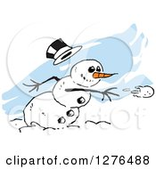 Clipart Of A Mischievous Winter Snowman With A Carrot Nose And Falling Hat Throwing A Snowball Over Blue Streaks Royalty Free Vector Illustration