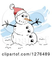 Clipart Of A Winter Snowman With A Carrot Nose And Santa Hat Over Blue Streaks Royalty Free Vector Illustration