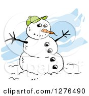 Clipart Of A Winter Snowman With A Carrot Nose Coal Buttons And Green Baseball Hat Over Blue Streaks Royalty Free Vector Illustration