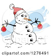 Clipart Of A Winter Snowman With A Carrot Nose Baubles And Santa Hat Over Blue Streaks Royalty Free Vector Illustration