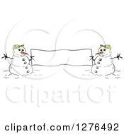 Clipart Of Two Winter Snowmen Holding A Blank Banner Sign Royalty Free Vector Illustration