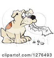 Clipart Of A Naughty Dog Eating Homework Royalty Free Vector Illustration