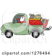 Santa Claus In Pajamas Driving A Pickup Truck With His Christmas Sleigh And Sacks In The Bed