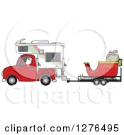 Clipart Of Santa Claus In Pajamas Driving A Pickup Truck With A Camper And His Christmas Sleigh On A Trailer Royalty Free Vector Illustration
