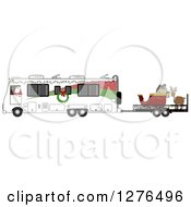 Santa Claus In Pajamas Driving An RV With His Christmas Sleigh And Reindeer On A Trailer