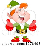 Clipart Of A Confident Red Haired White Male Christmas Elf Giving Two Thumbs Up Royalty Free Vector Illustration