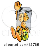 Clipart Picture Of A Garbage Can Mascot Cartoon Character Plugging His Nose While Jumping Into Water