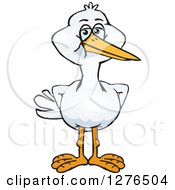 Clipart Of A Stork Standing Royalty Free Vector Illustration by Dennis Holmes Designs