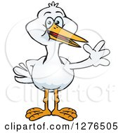 Clipart Of A Stork Waving Royalty Free Vector Illustration by Dennis Holmes Designs