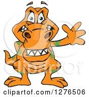 Clipart Of A Happy Orange Tyrannosaurus Rex Waving Royalty Free Vector Illustration