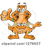 Clipart Of A Happy Orange Tyrannosaurus Rex Holding A Thumb Up Royalty Free Vector Illustration