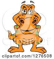 Clipart Of A Happy Orange Tyrannosaurus Rex Royalty Free Vector Illustration