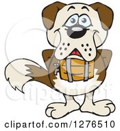 Clipart Of A Happy St Bernard Dog Standing Royalty Free Vector Illustration