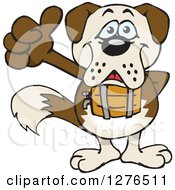 Clipart Of A Happy St Bernard Dog Giving A Thumb Up Royalty Free Vector Illustration