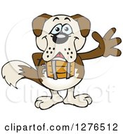 Clipart Of A Happy St Bernard Dog Waving Royalty Free Vector Illustration