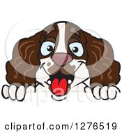 Clipart Of A Happy English Springer Spaniel Peeking Over A Sign Royalty Free Vector Illustration by Dennis Holmes Designs