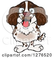 Clipart Of A Happy English Springer Spaniel Standing Royalty Free Vector Illustration by Dennis Holmes Designs