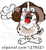Clipart Of A Happy English Springer Spaniel Giving A Thumb Up Royalty Free Vector Illustration by Dennis Holmes Designs