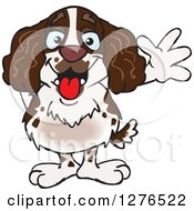 Clipart Of A Happy English Springer Spaniel Waving Royalty Free Vector Illustration by Dennis Holmes Designs