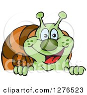 Clipart Of A Happy Green Snail Peeking Over A Sign Royalty Free Vector Illustration