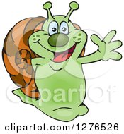 Happy Green Snail Waving
