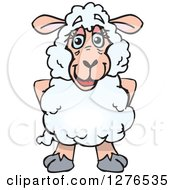 Clipart Of A Happy Sheep Standing Royalty Free Vector Illustration