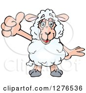 Clipart Of A Happy Sheep Holding A Thumb Up Royalty Free Vector Illustration
