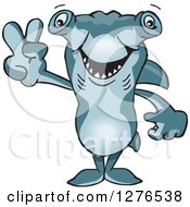 Clipart Of A Hammerhead Shark Gesturing Peace Royalty Free Vector Illustration by Dennis Holmes Designs