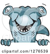 Clipart Of A Hammerhead Shark Peeking Over A Sign Royalty Free Vector Illustration