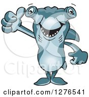 Clipart Of A Hammerhead Shark Holding A Thumb Up Royalty Free Vector Illustration by Dennis Holmes Designs