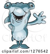 Clipart Of A Hammerhead Shark Standing And Waving Royalty Free Vector Illustration by Dennis Holmes Designs