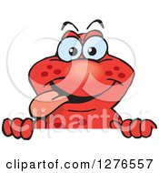 Clipart Of A Happy Red Salamander Peeking Over A Sign Royalty Free Vector Illustration