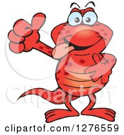 Clipart Of A Happy Red Salamander Holding A Thumb Up Royalty Free Vector Illustration