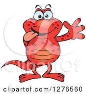 Clipart Of A Happy Red Salamander Waving Royalty Free Vector Illustration