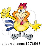 Clipart Of A Happy Rooster Holding A Thumb Up Royalty Free Vector Illustration