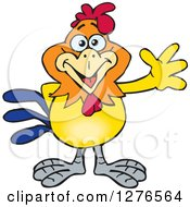 Clipart Of A Happy Rooster Waving Royalty Free Vector Illustration