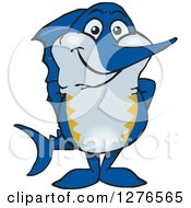 Clipart Of A Happy Marlin Fish Royalty Free Vector Illustration