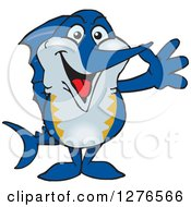 Clipart Of A Happy Marlin Fish Waving Royalty Free Vector Illustration by Dennis Holmes Designs