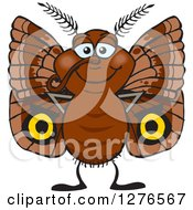 Clipart Of A Happy Brown Moth Royalty Free Vector Illustration