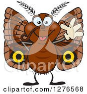 Clipart Of A Happy Brown Moth Waving Royalty Free Vector Illustration