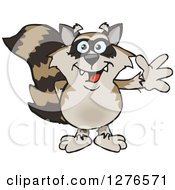 Clipart Of A Happy Raccoon Waving Royalty Free Vector Illustration by Dennis Holmes Designs