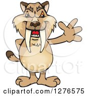 Clipart Of A Saber Toothed Tiger Waving Royalty Free Vector Illustration
