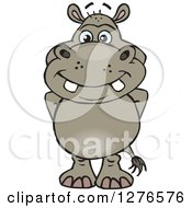 Clipart Of A Happy Hippo Standing Royalty Free Vector Illustration by Dennis Holmes Designs