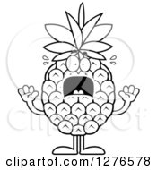 Clipart Of A Black And White Scared Screaming Pineapple Character Royalty Free Vector Illustration by Cory Thoman