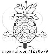 Clipart Of A Black And White Sweet Pineapple Character With Open Arms Royalty Free Vector Illustration by Cory Thoman