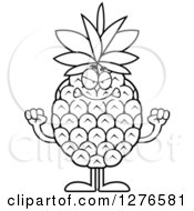 Clipart Of A Black And White Mad Pineapple Character Holding Up Fists Royalty Free Vector Illustration by Cory Thoman