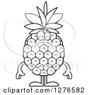 Clipart Of A Black And White Depressed Pineapple Character Royalty Free Vector Illustration by Cory Thoman