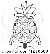 Clipart Of A Black And White Sick Pineapple Character Royalty Free Vector Illustration by Cory Thoman