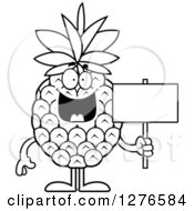 Clipart Of A Black And White Happy Pineapple Character Holding A Blank Sign Royalty Free Vector Illustration by Cory Thoman